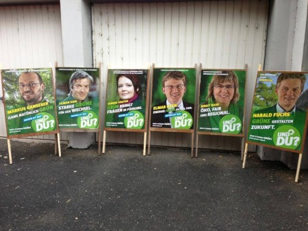 Der Startschuss fiel am 03.08.13, 8 Uhr: Plakate aufstellen
