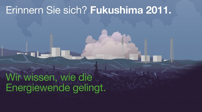 Erinnern Sie sich? FUKUSHIMA 2011. Plakataktion in der Nürnberger Altstadt